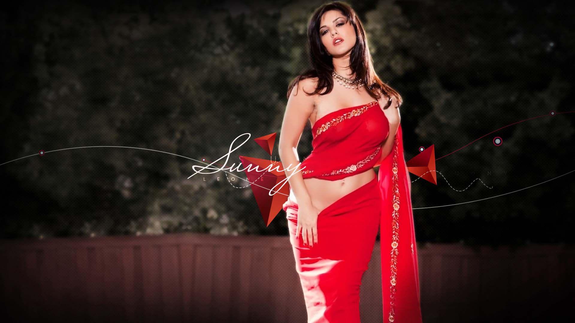 Sunny Leone Looks Hot In Red Saree Wallpaper - Sunny Leone Hot Wallpaper Hd - HD Wallpaper