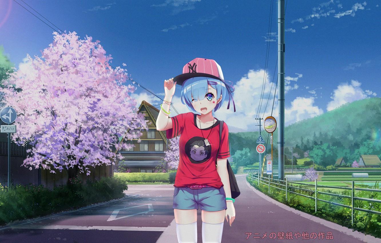 Photo Wallpaper Girl, Anime, Rem, Re Zero Kara Hajime - Nature Hd Anime Scenery - HD Wallpaper
