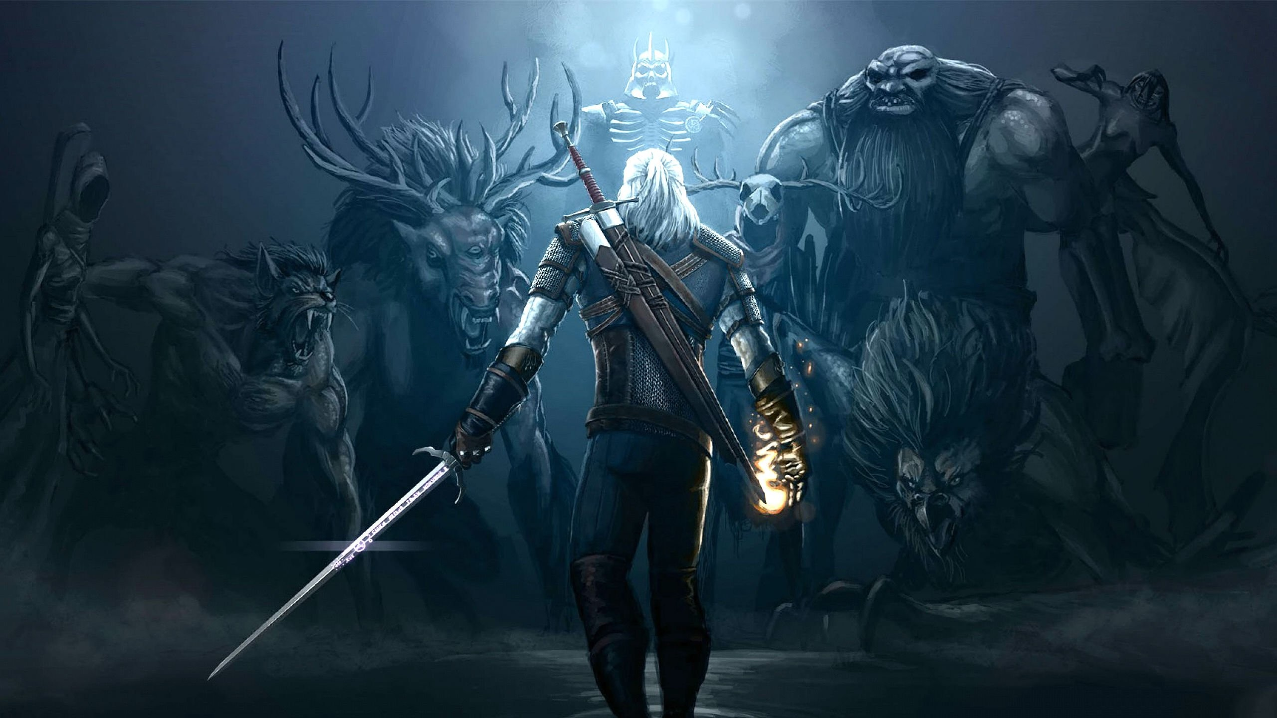 2560x1440 Action Witcher Vector Wallpapers Fighting Witcher Wallpaper 4k 2560x1440 Wallpaper Teahub Io