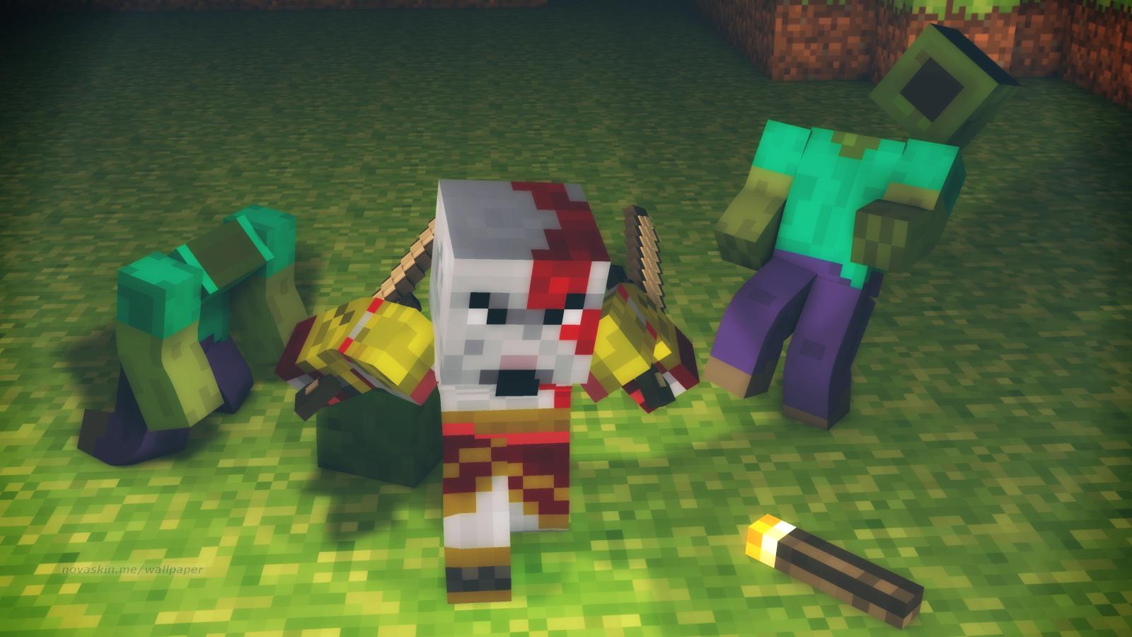 Nova Skin - Minecraft Killing A Zombie - 12x12 Wallpaper