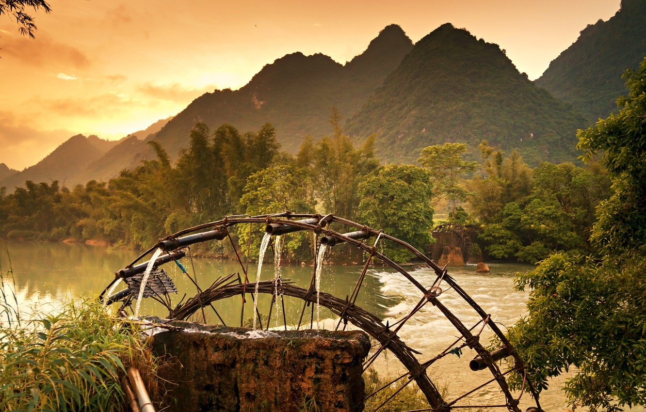 Photo Wallpaper Forest, River, Mountains, Well, Beautiful - Non Nuoc Cao Bang - HD Wallpaper