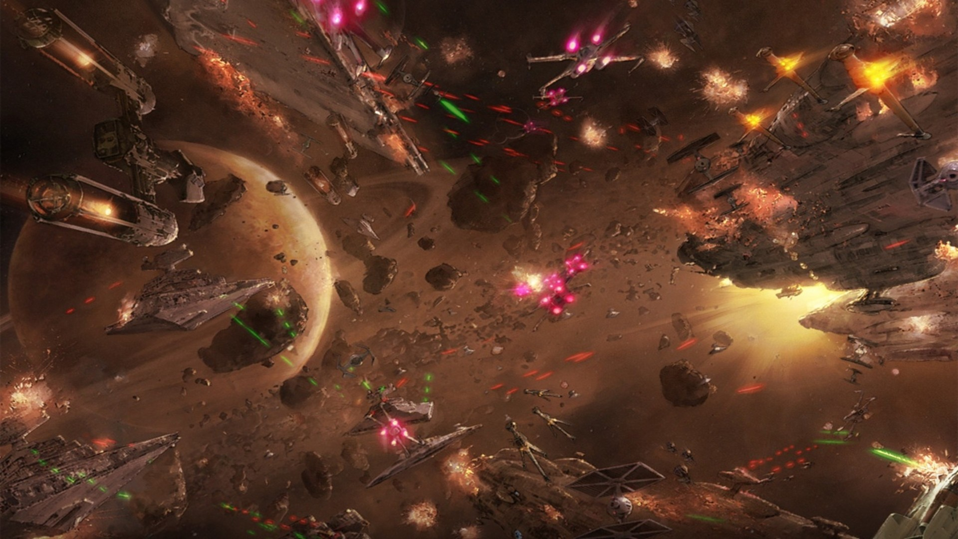 Star Wars Planet Wallpaper Hd Space Battle Of Geonosis 1920x1080 Wallpaper Teahub Io