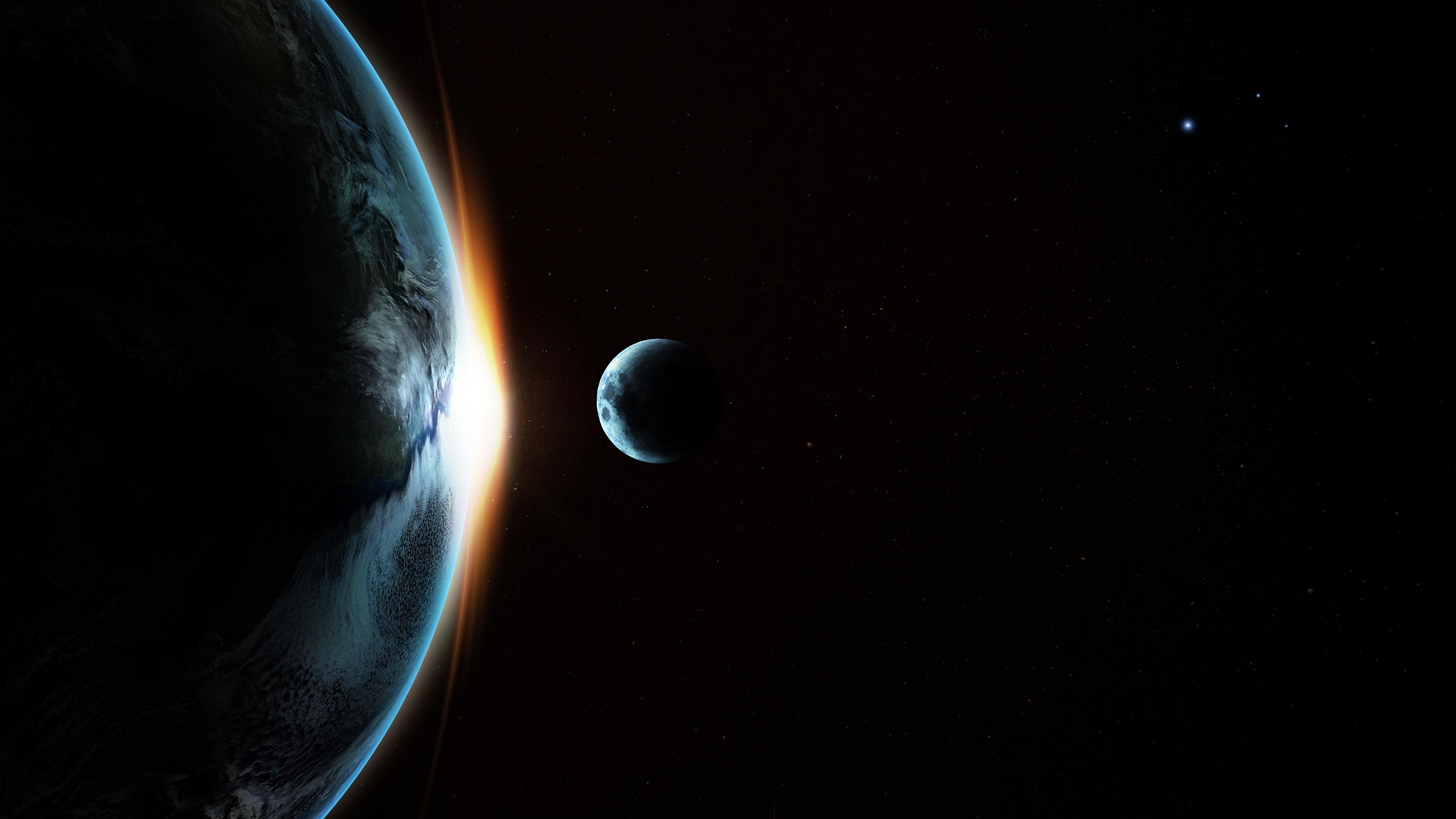 Wallpaper Earth Moon Transit Galaxy Ultra Hd Earth 4k 7680x4320 Wallpaper Teahub Io