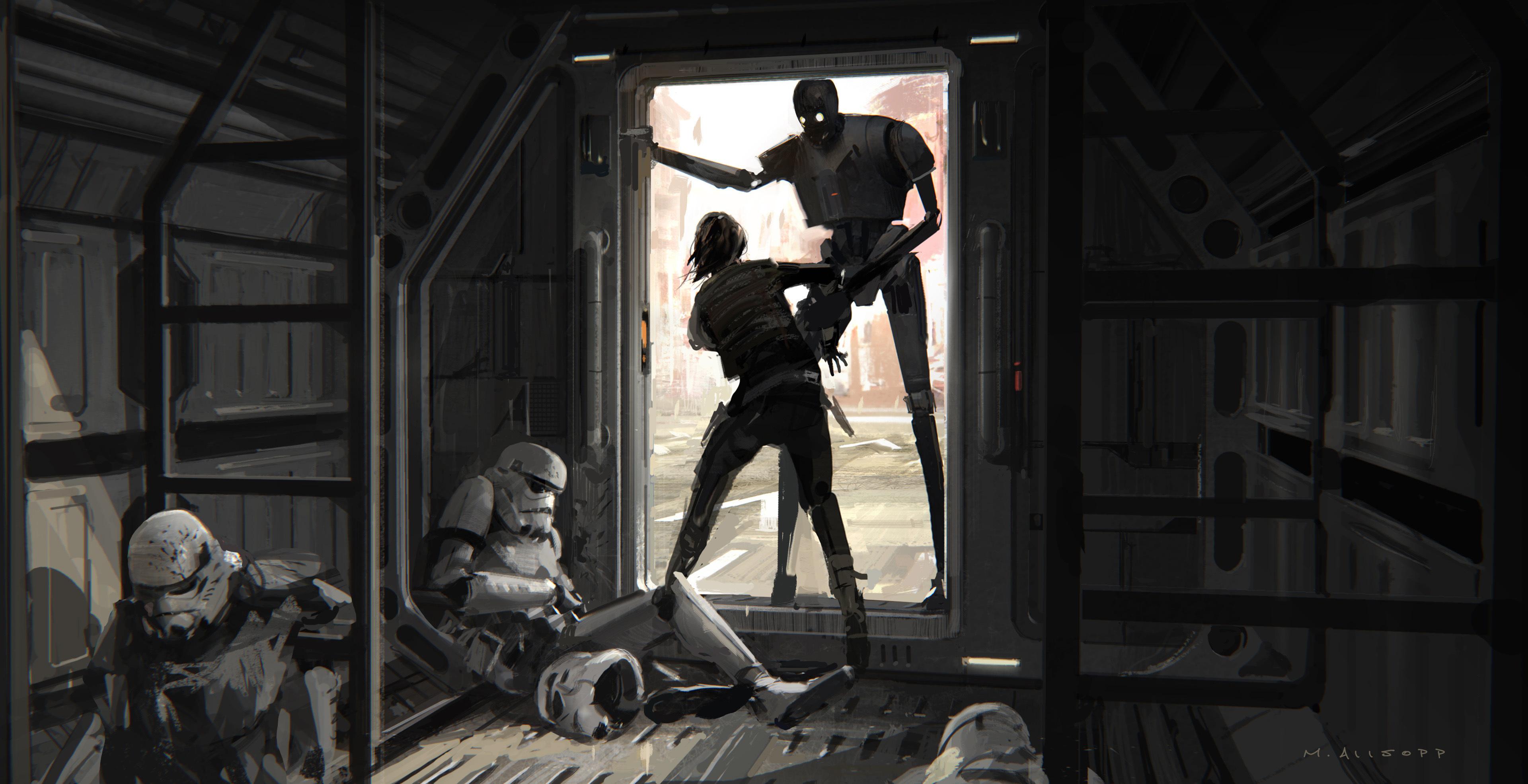 A Star Wars Story Artwork Movie Robots Stormtrooper Rogue One K2so Concept Art 3840x1972 Wallpaper Teahub Io