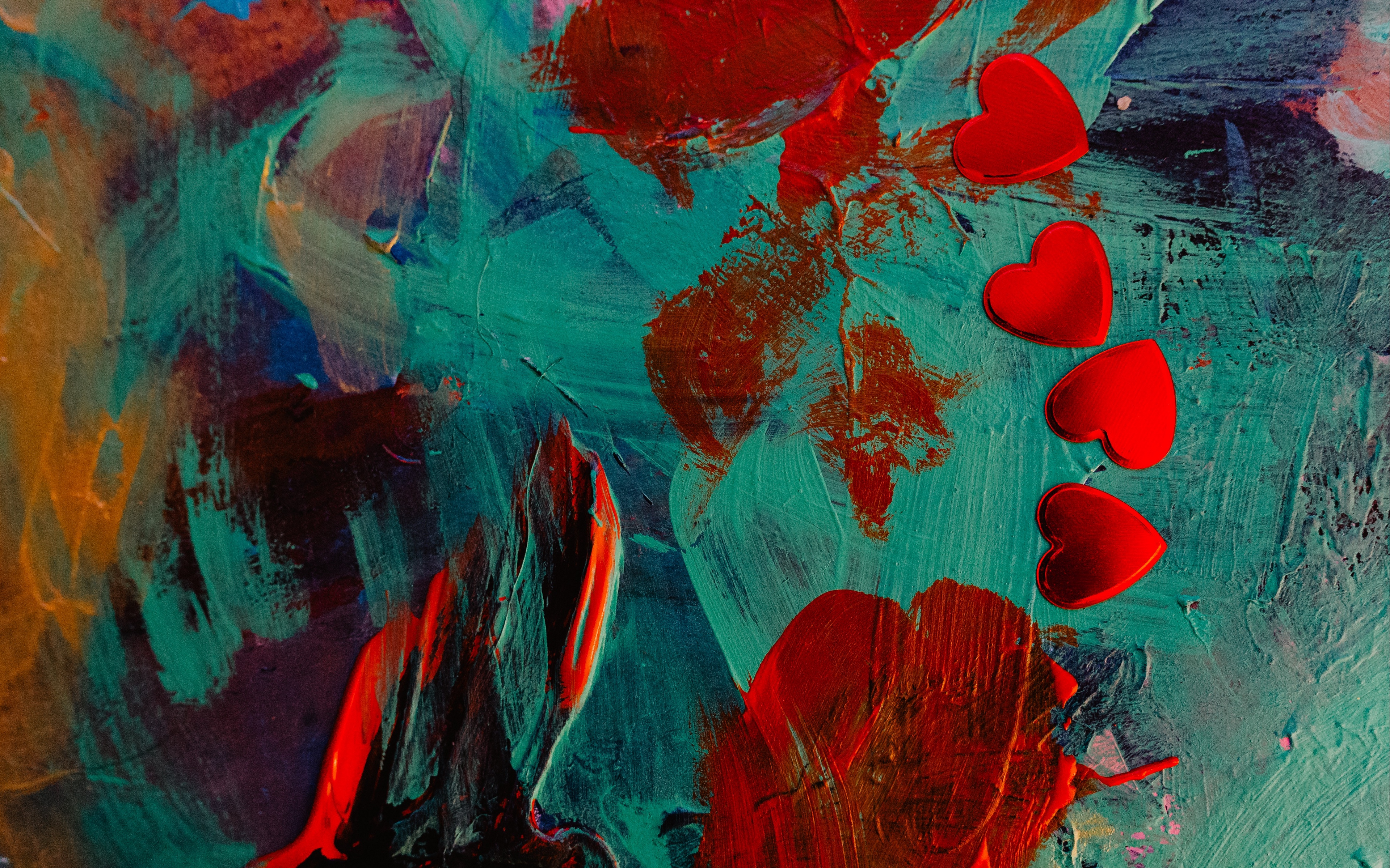 Wallpaper Paint, Hearts, Spots, Abstract - Abstract Paint Wallpaper 4k - HD Wallpaper