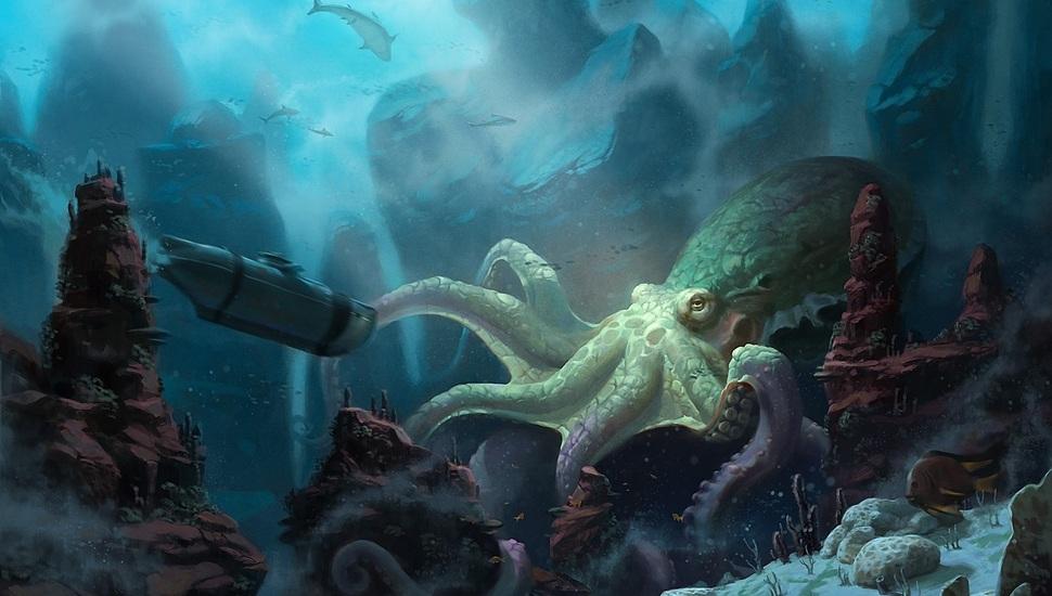 Art Unidcolor Ship Submarine Under Water Octopus 970x550 Wallpaper Teahub Io