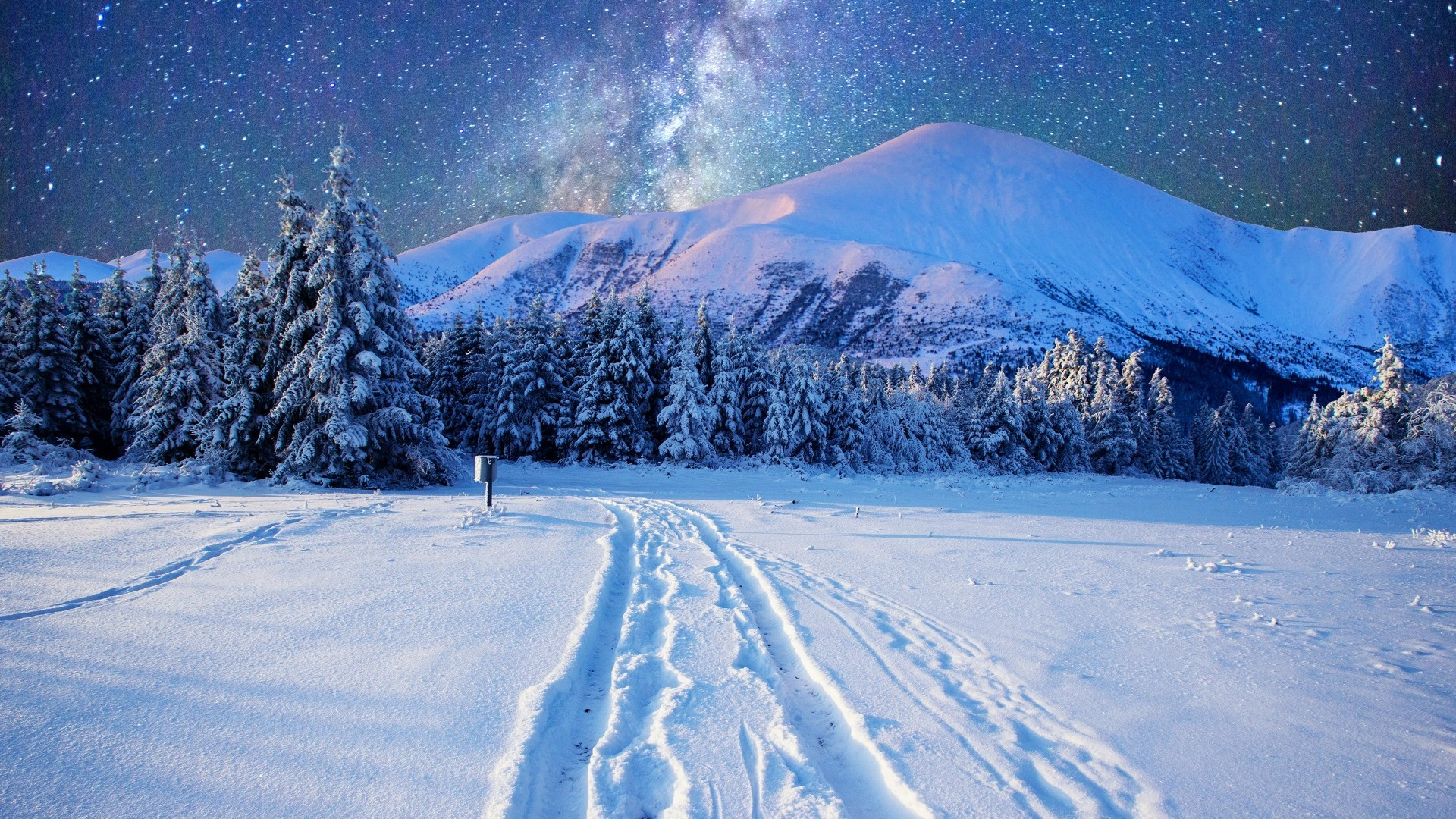 1920x1080, Milky Way On The Night Sky Over The Snowy - Winter Wallpaper Iphone - HD Wallpaper