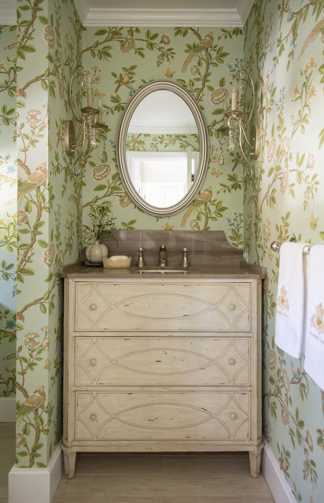 Beautiful Vanities With Tops In Powder Room Shabby - Powder Room Chic - HD Wallpaper