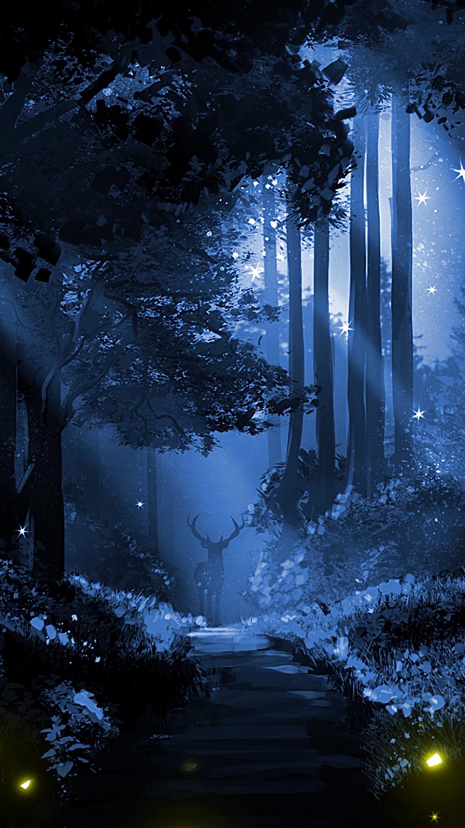 Wallpaper Deer, Silhouette, Forest, Art, Night - Night Forest Wallpaper Iphone - HD Wallpaper