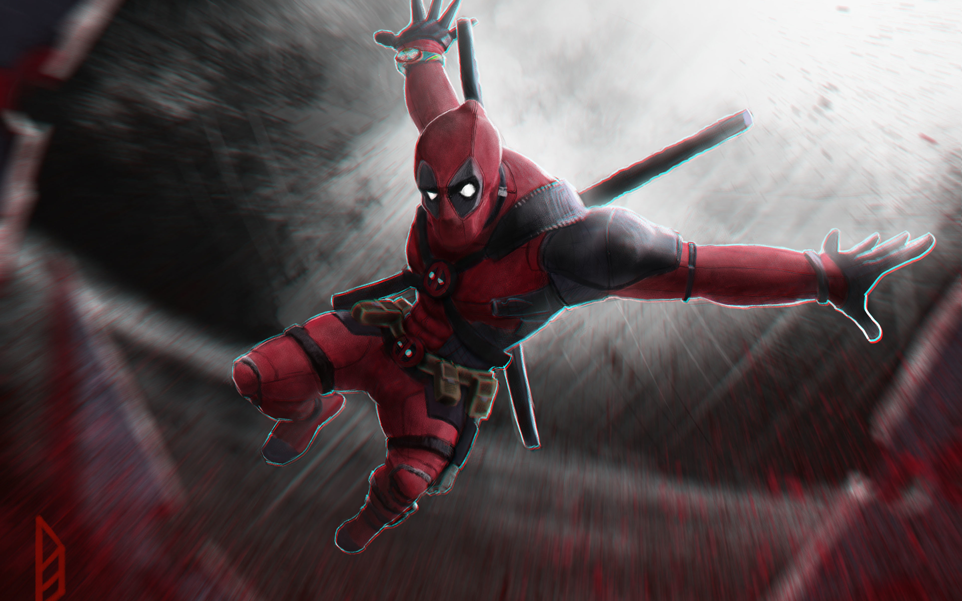 Deadpool Superhero Marvel Art Wallpaper Ultra Hd Deadpool Wallpaper 4k 3840x2400 Wallpaper Teahub Io