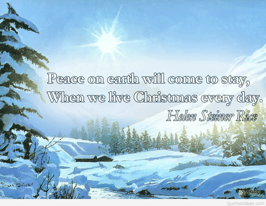 Merry Christmas Peace Quote With Wallpaper Hd - Helen Steiner Rice Christmas Quotes - HD Wallpaper