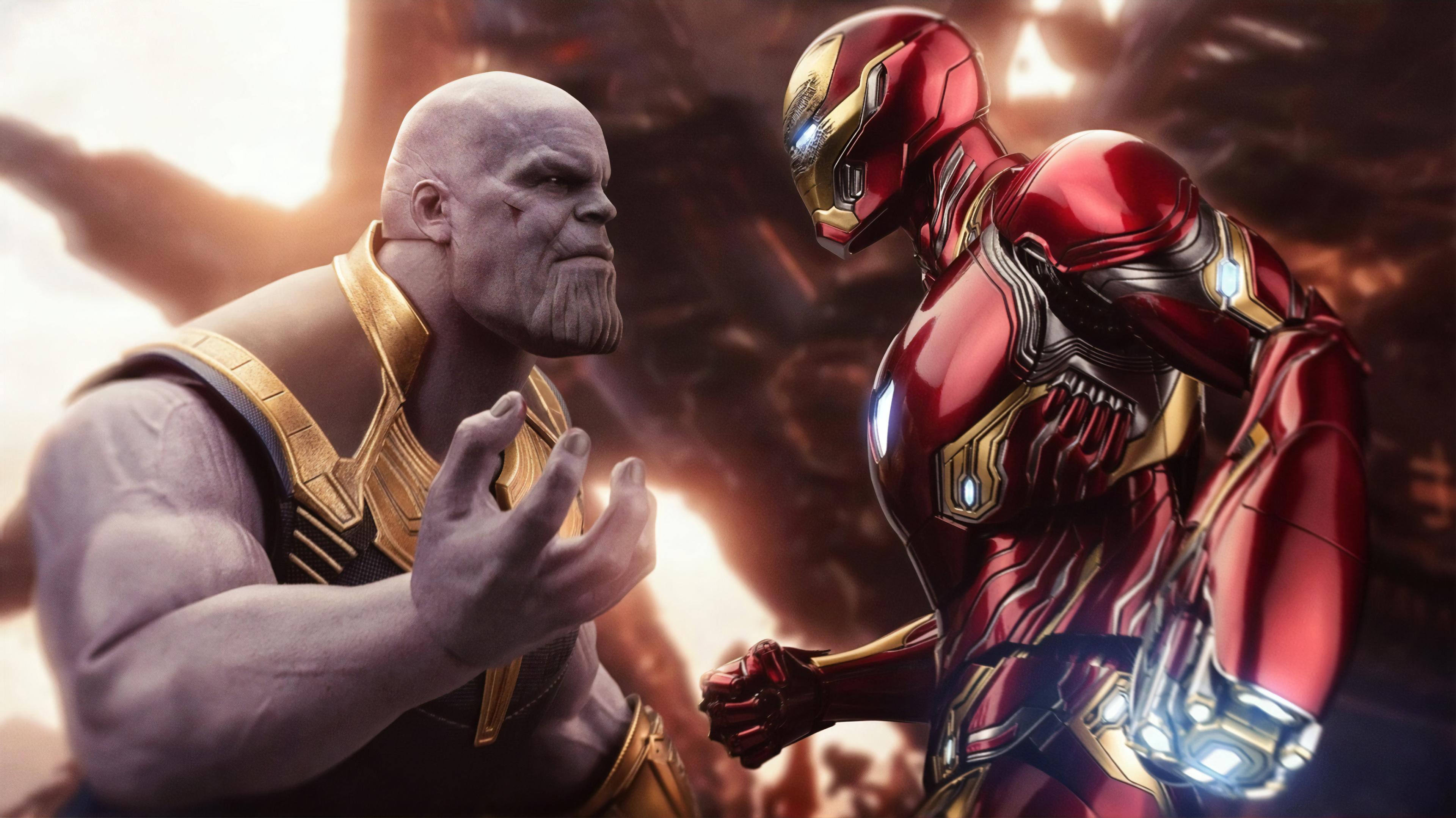 Iron Man And Thanos 3840x2158 Wallpaper Teahub Io