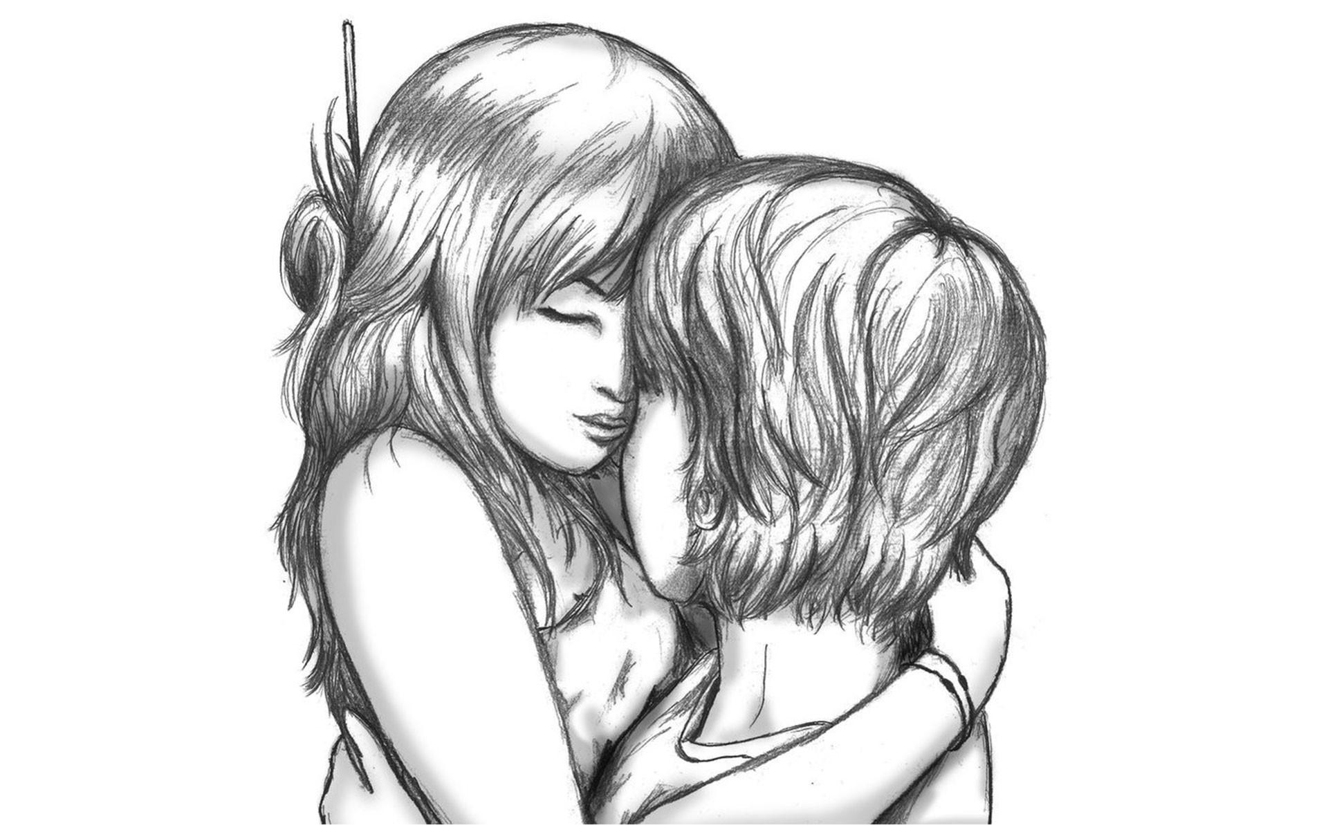Cute Love Cartoon Image Sketch Cute Cartoon Love Couple Boy And Girl Kissing Sketch 1920x1200 Wallpaper Teahub Io