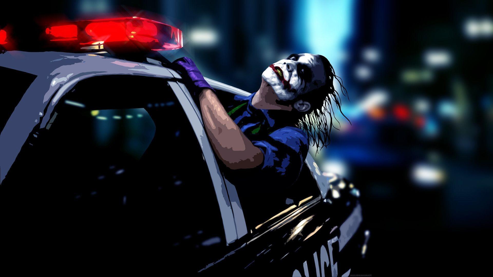Joker Dark Knight In Mcdonald Advert Wallpaper - Joker Wallpaper Police Car - HD Wallpaper