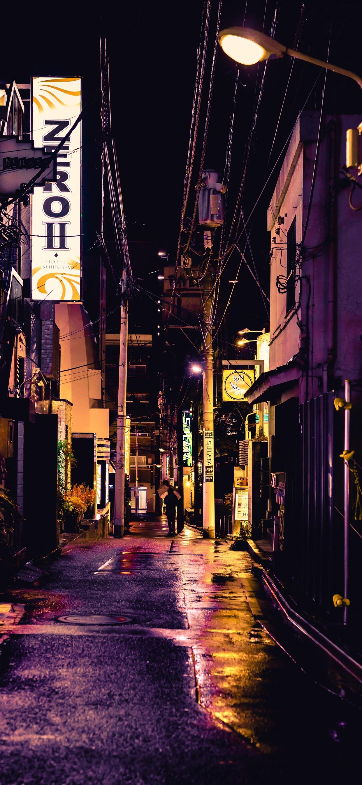 Iphone Wallpaper Street, City, Alley, Night, Lights, - Iphone Xs Max Wallpaper Japan - HD Wallpaper