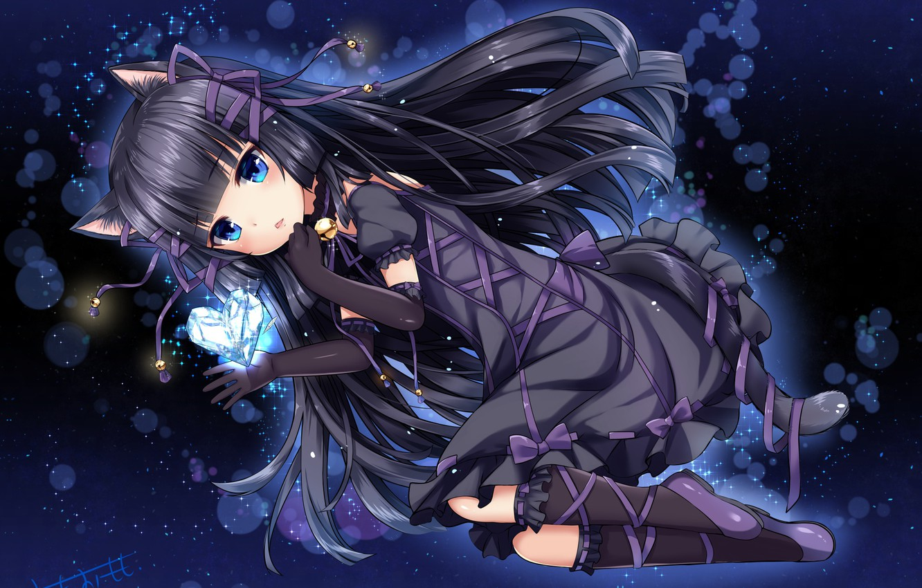 Photo Wallpaper Girl Brunette Neko Cute Anime Girl With Black Hair 1332x850 Wallpaper Teahub Io