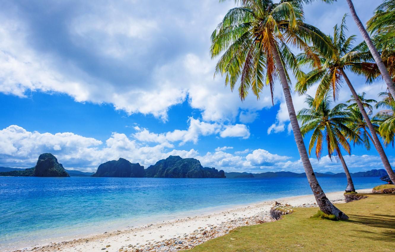 Photo Wallpaper Sea, Beach, Clouds, Tropics, Palm Trees, - Tropical Beach Philippines - HD Wallpaper
