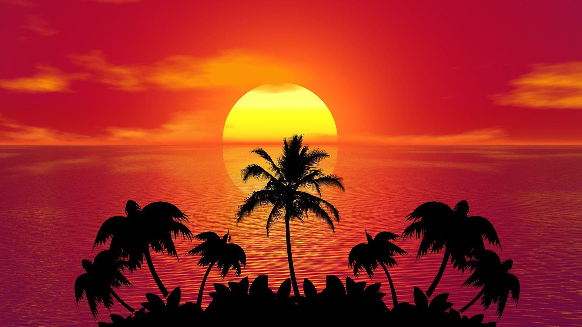 Summer Beach Sunset Art Wallpaper - Sunset Summer - HD Wallpaper