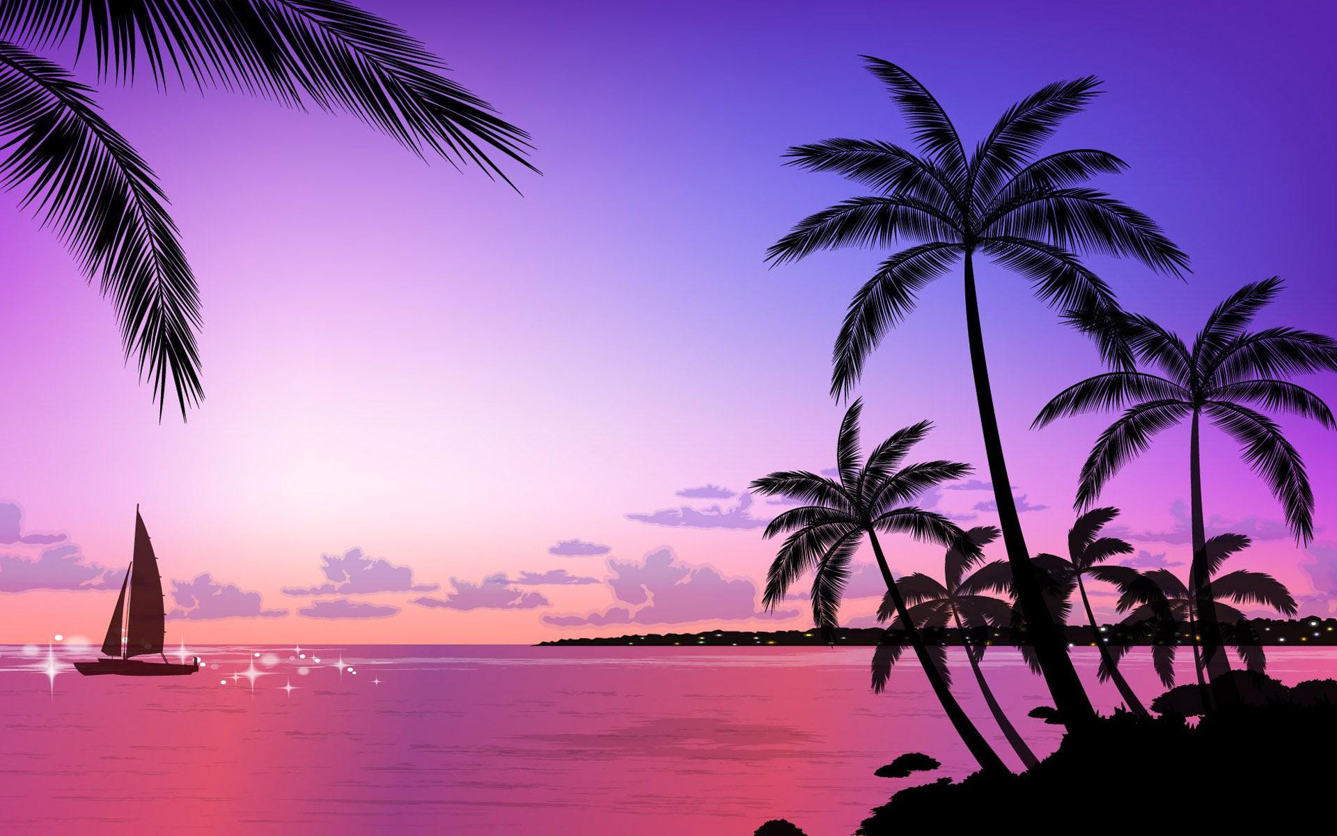 Tropical Beach Sunset Wallpaper - HD Wallpaper