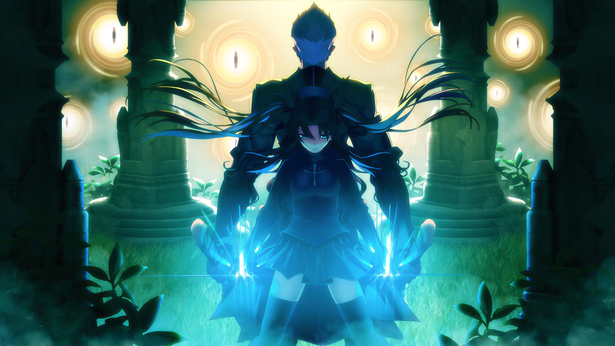 Fate Stay Night Unlimited Blade Works Rin Tohsaka Shirou Fate Stay Night Emiya Background 2560x1440 Wallpaper Teahub Io