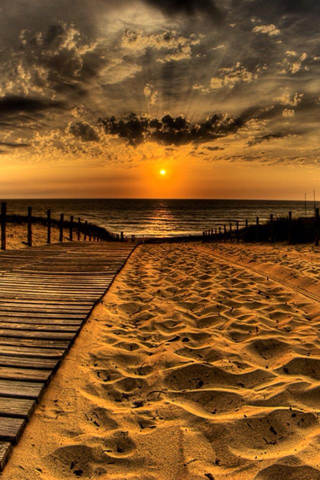 Beach Sunset Iphone 4s Wallpaper - HD Wallpaper