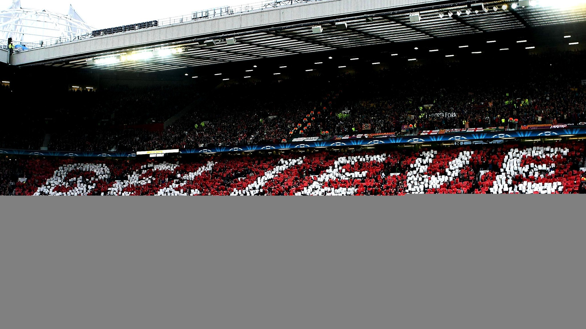 Man Utd Old Trafford Stadium Believe Choreography Wallpaper Manchester United Wallpaper Hd For Pc 2048x1152 Wallpaper Teahub Io
