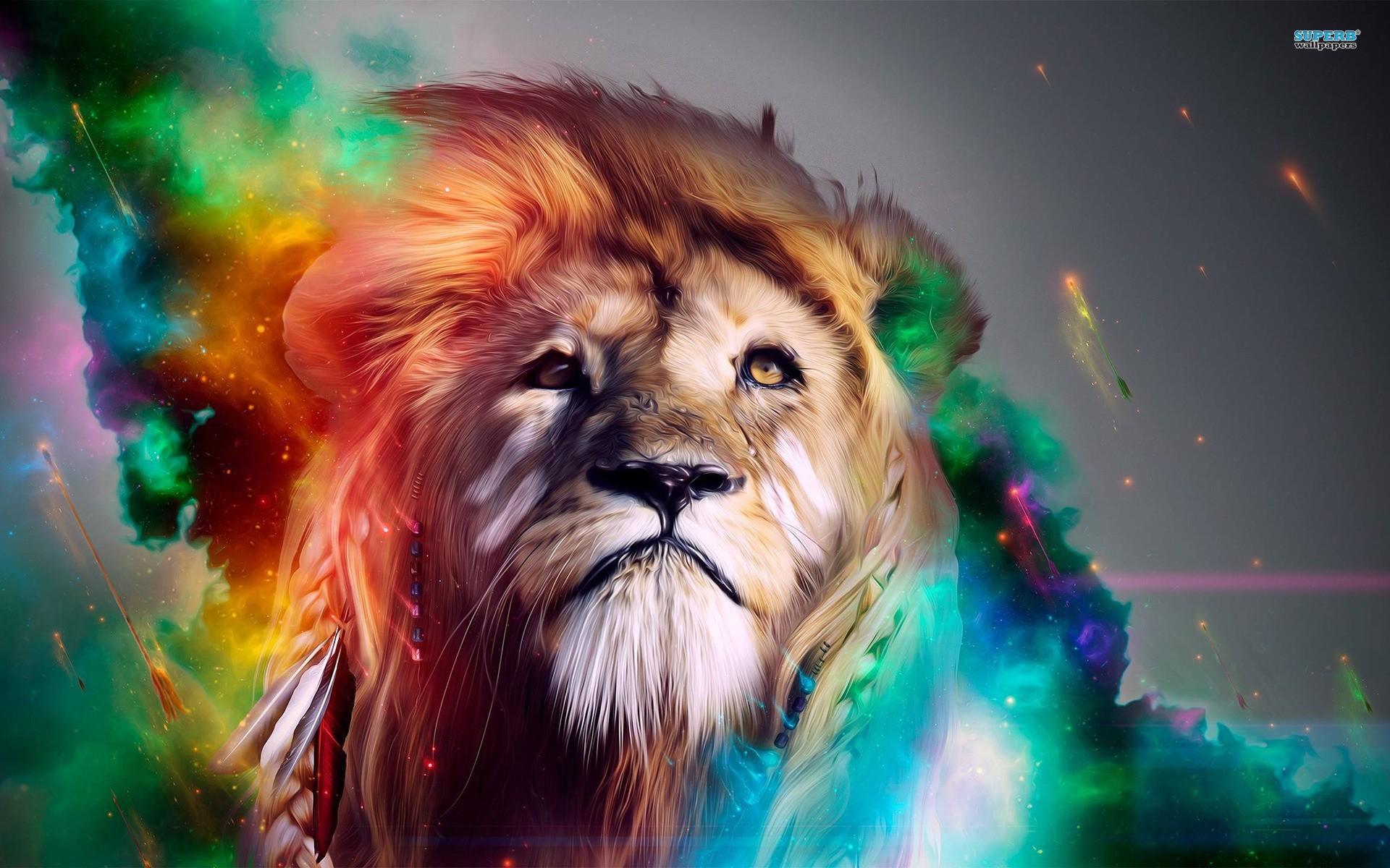 Colorized Lion Digital Art Hd Wallpaper X   Src Download - 4k Wallpaper Lion - HD Wallpaper