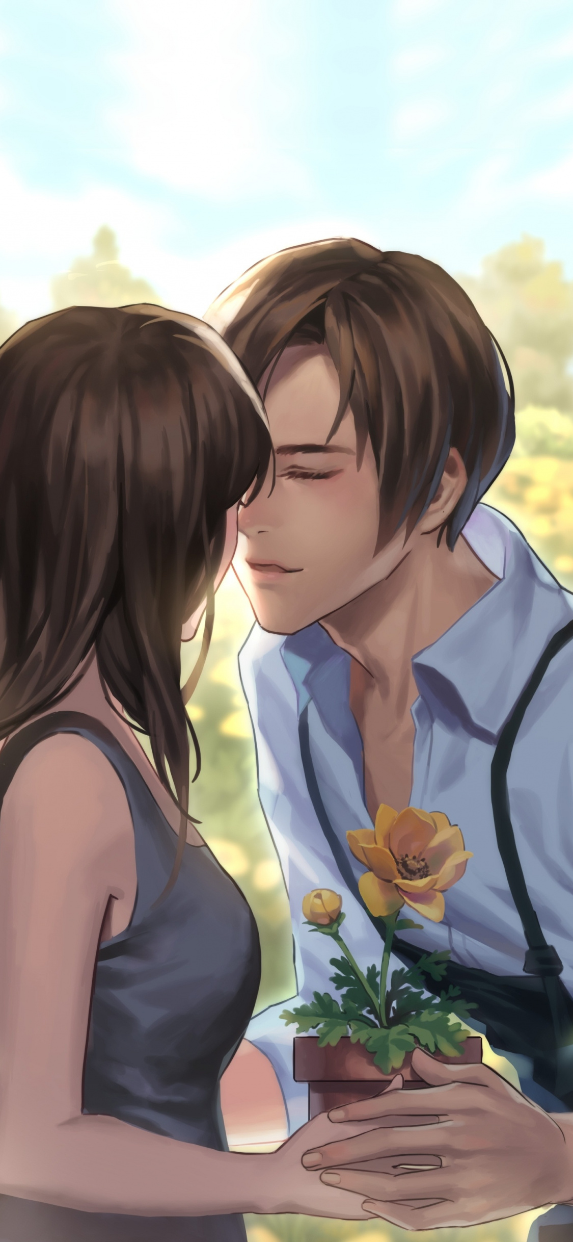 Romantic Couple Meadow Love Art Wallpaper Romantic Couple Couple Hd 1125x2436 Wallpaper Teahub Io