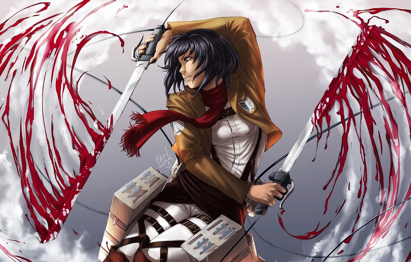 Photo Wallpaper Art Shingeki No Kyojin Attack Of Shingeki No Kyojin Mikasa Art 1332x850 Wallpaper Teahub Io