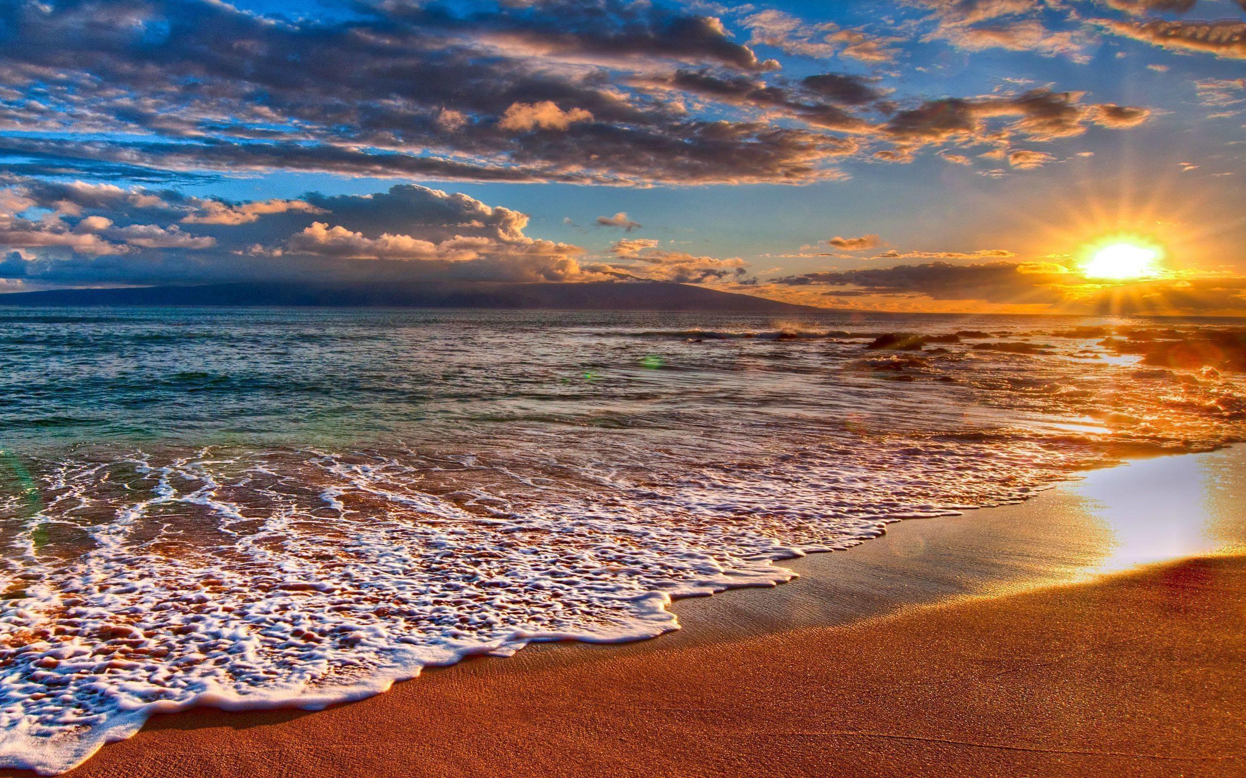 Beach Sunset Wide Desktop Background Wallpaper   Data-src - Beach Background Sun Rise - HD Wallpaper