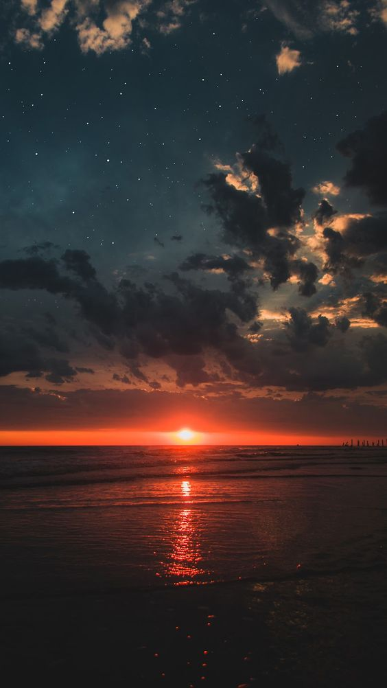 Sunset, Beach, And Nature Image - Ocean Sunset With Stars - HD Wallpaper