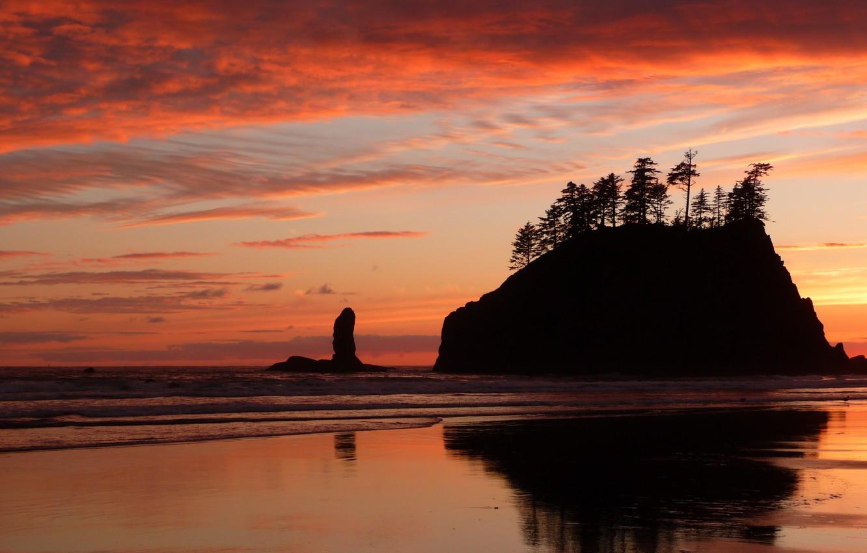 Photo Wallpaper Sea, Beach, Sunset, Beauty, Beach, - Olympic National Park, Second Beach - HD Wallpaper