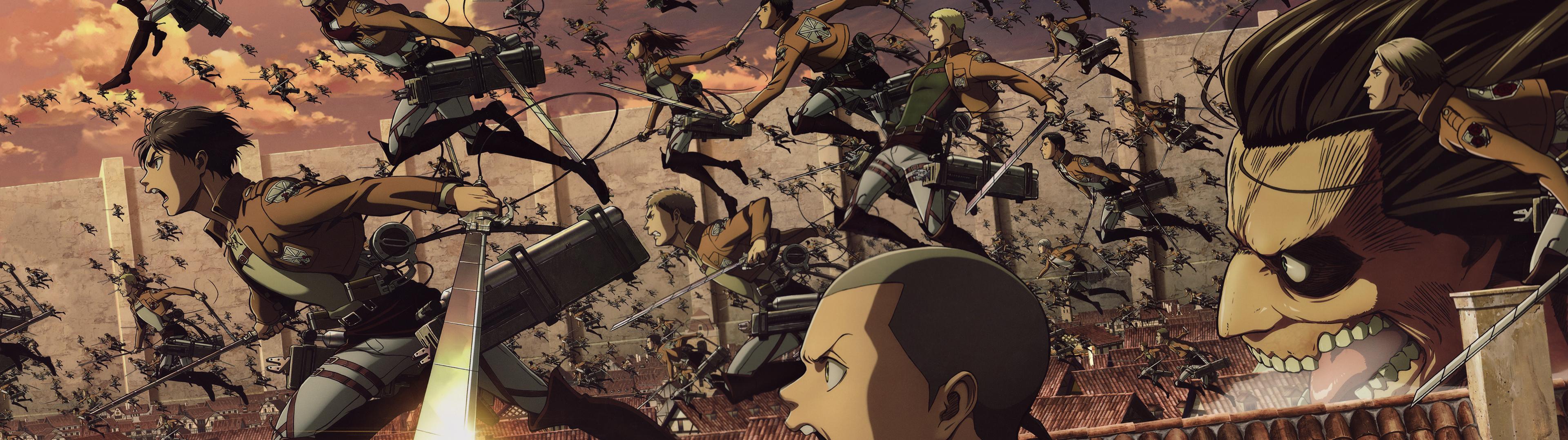 Attack On Titan Eren Mikasa And Levi - HD Wallpaper