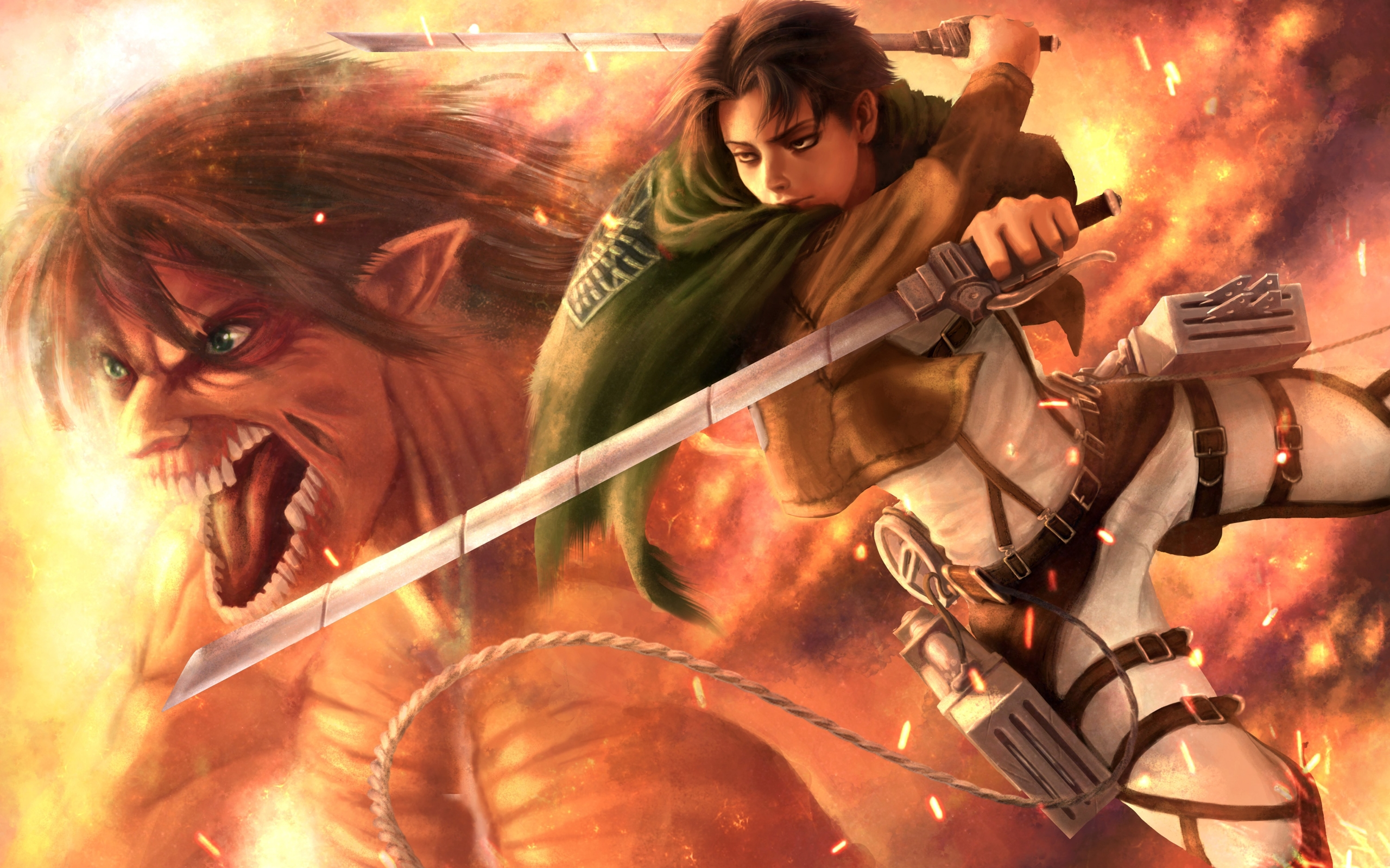 Wallpaper Of Eren Yeager Levi Ackerman Anime Attack Attack On Titan Wallpaper 3d 2560x1600 Wallpaper Teahub Io
