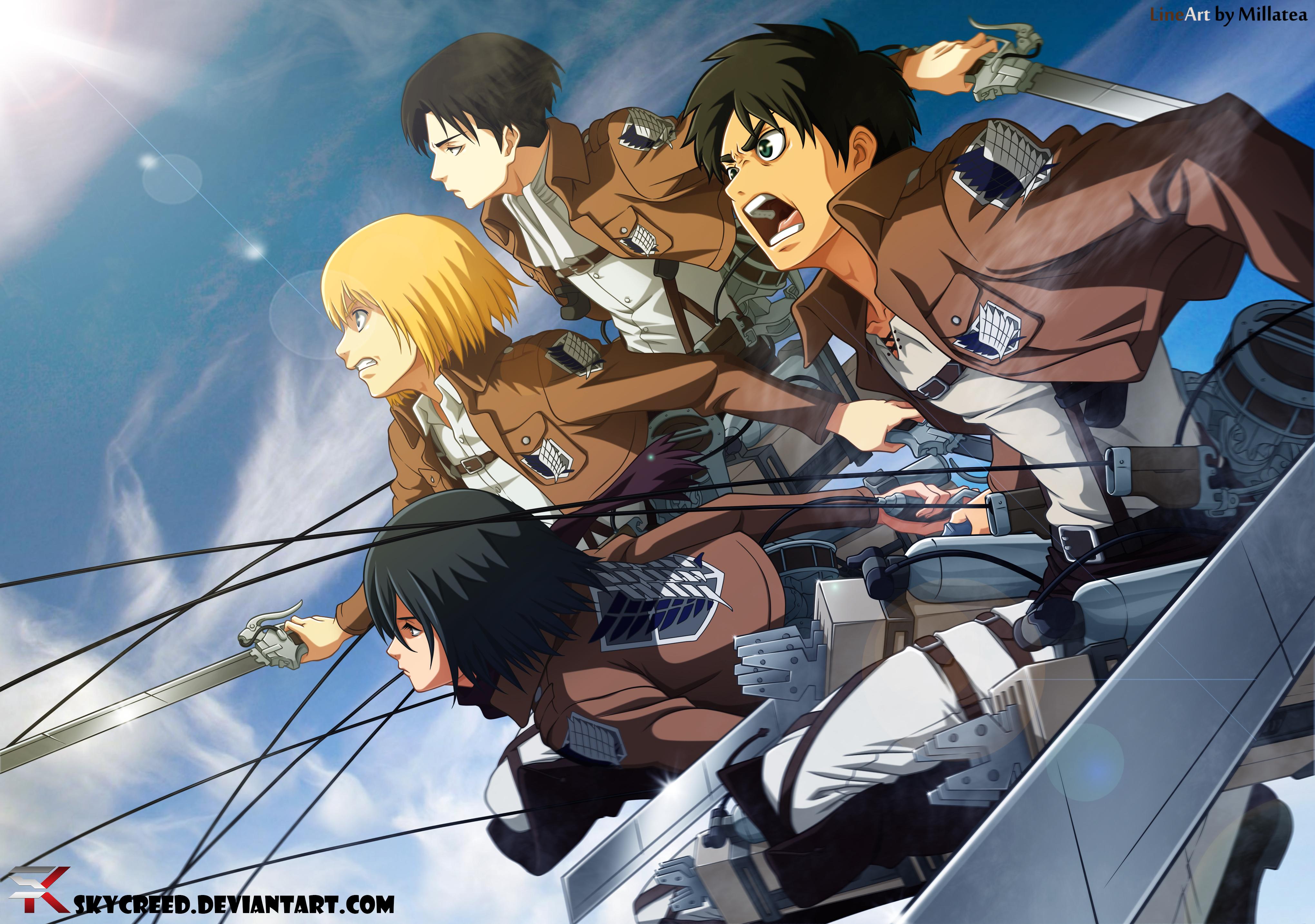 Attack On Titan Eren Mikasa Armin And Levi 4080x2868 Wallpaper Teahub Io