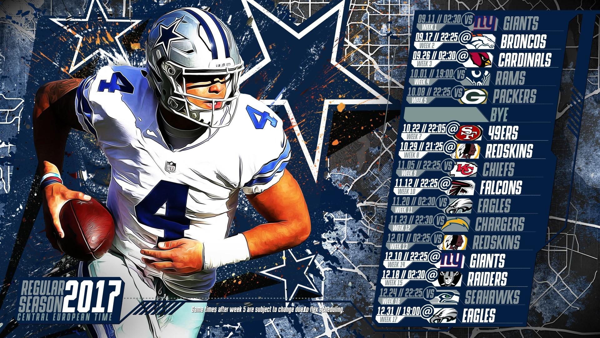 Dallas Cowboys Schedule For 2017 Printable Schedule - Prescott Wallpaper Dallas Cowboys - HD Wallpaper