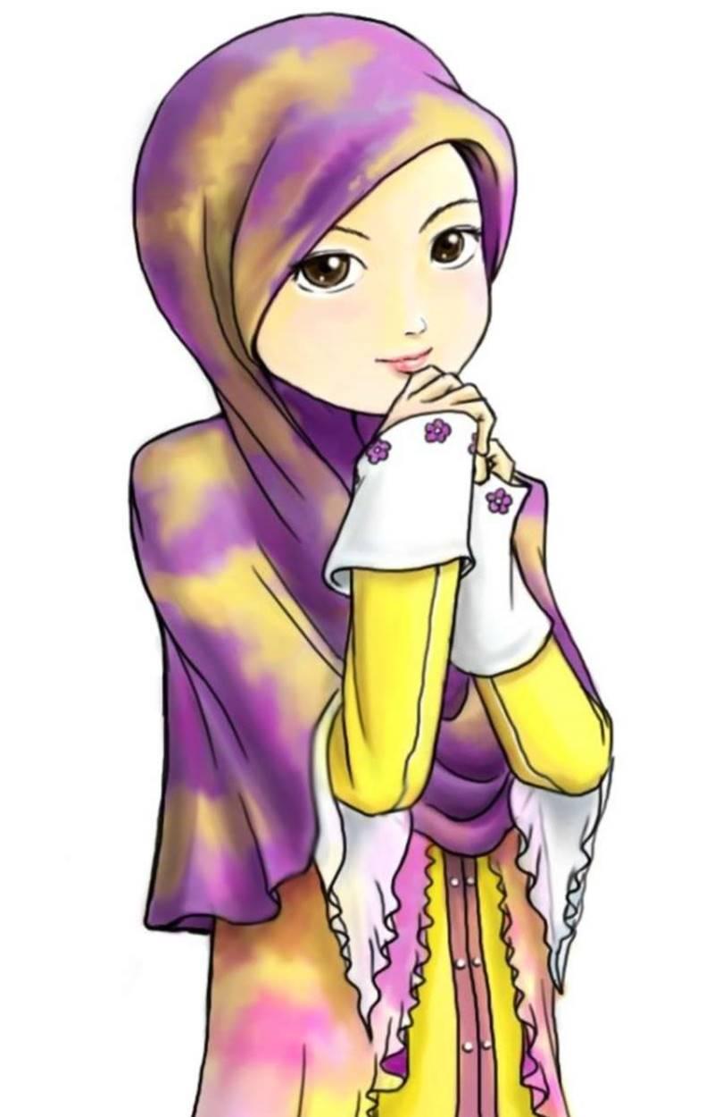 Wallpaper Kartun Muslimah Berjilbab - HD Wallpaper