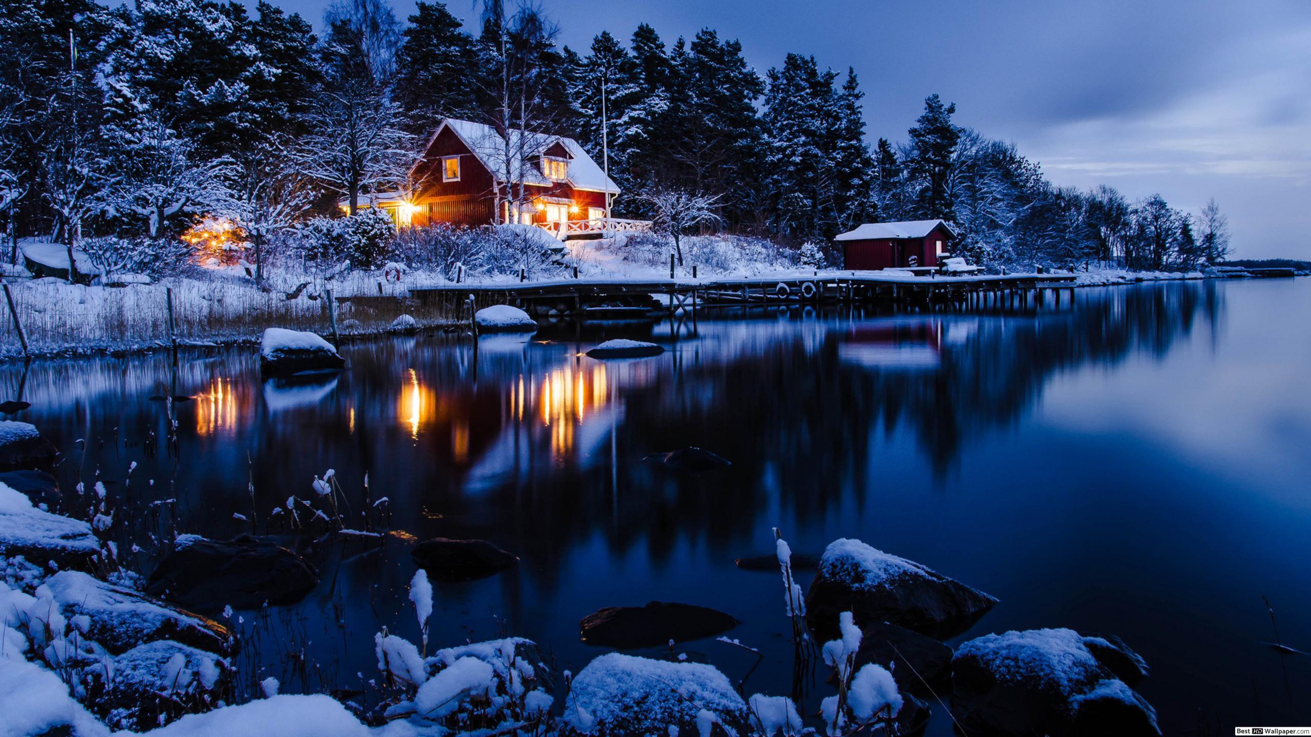 Snowy Cabin Desktop Background 2560x1440 Wallpaper Teahub Io
