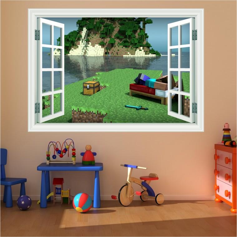 Minecraft Bedroom Wall Stickers - HD Wallpaper