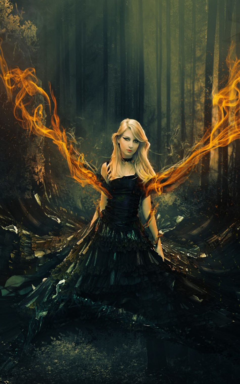 Fantasy Girl Flame Forest Surreal Hd Mobile Wallpaper - Fantasy Wallpaper 4k Phone - HD Wallpaper