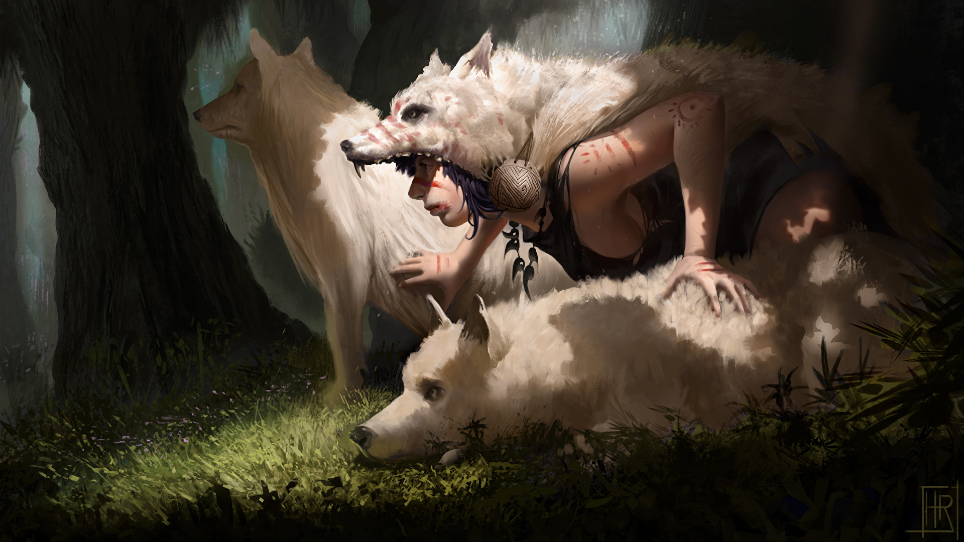 Princess Mononoke Art Faces 1920x1080 Wallpaper Teahub Io