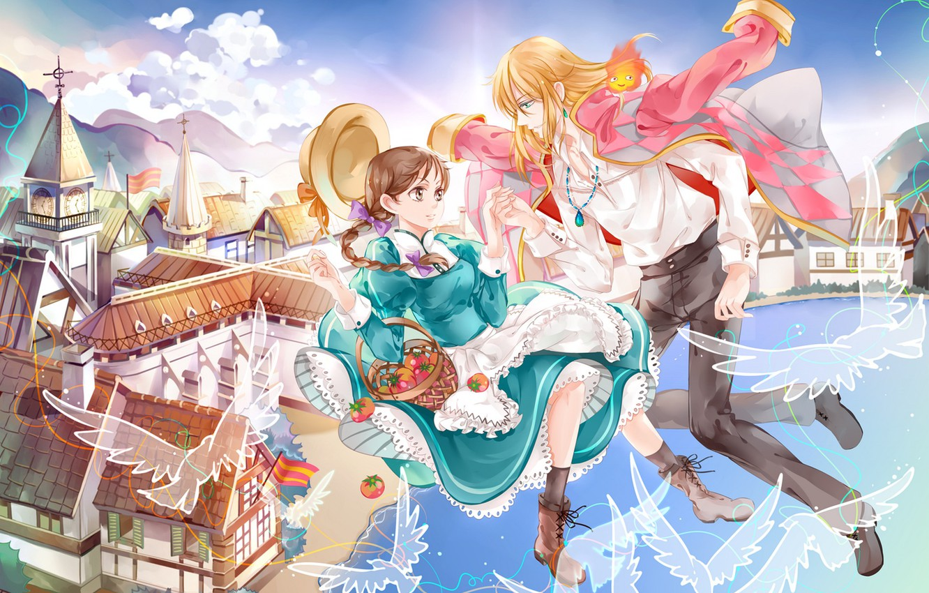 Photo Wallpaper The Sky, Girl, Clouds, Flight, The - Howl's Moving Castle Sophie And Howl Fan Art - HD Wallpaper