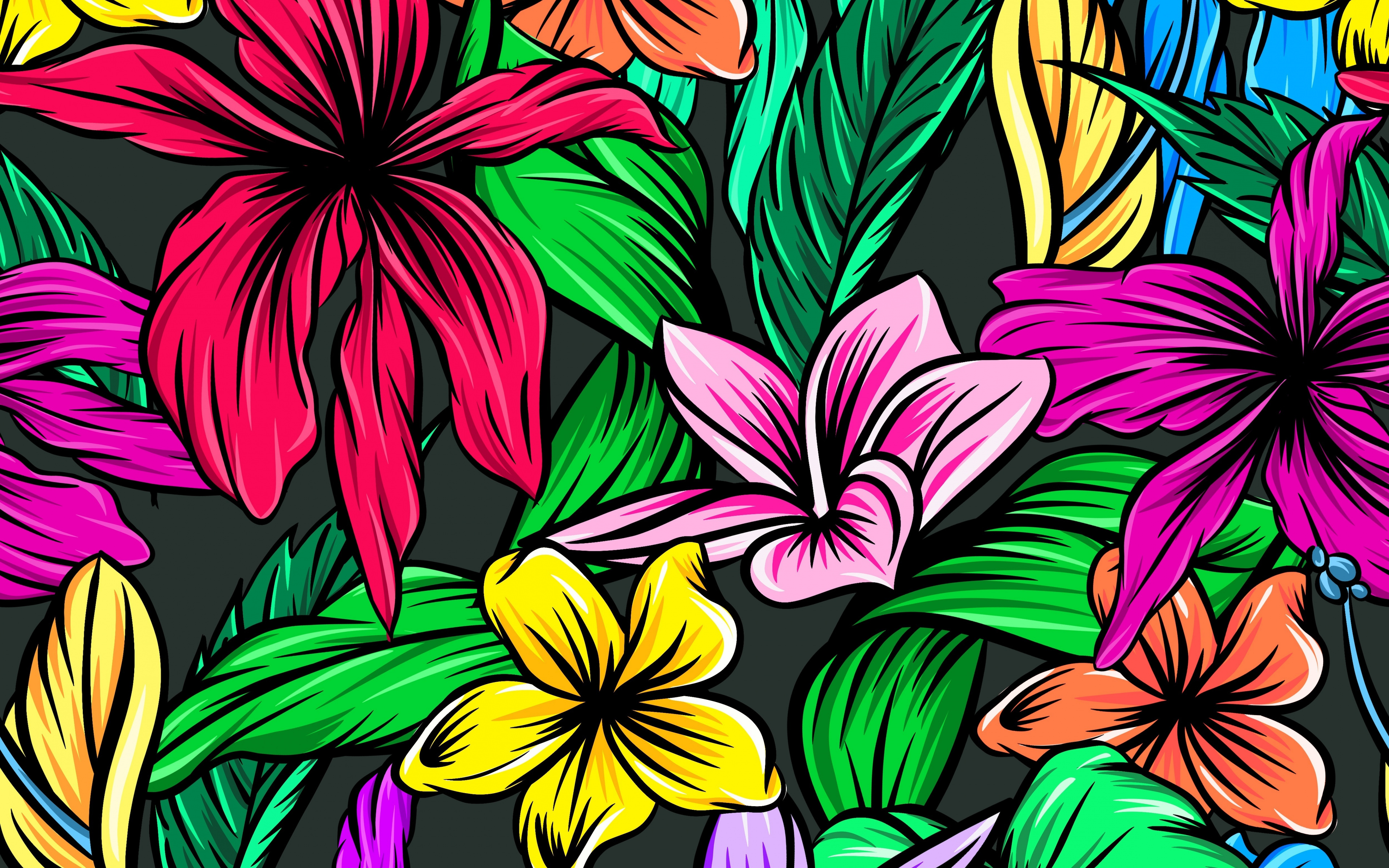 Abstract, Colorful, Flowers, Digital Art, Wallpaper - Colorful Flowers Digital Art - HD Wallpaper