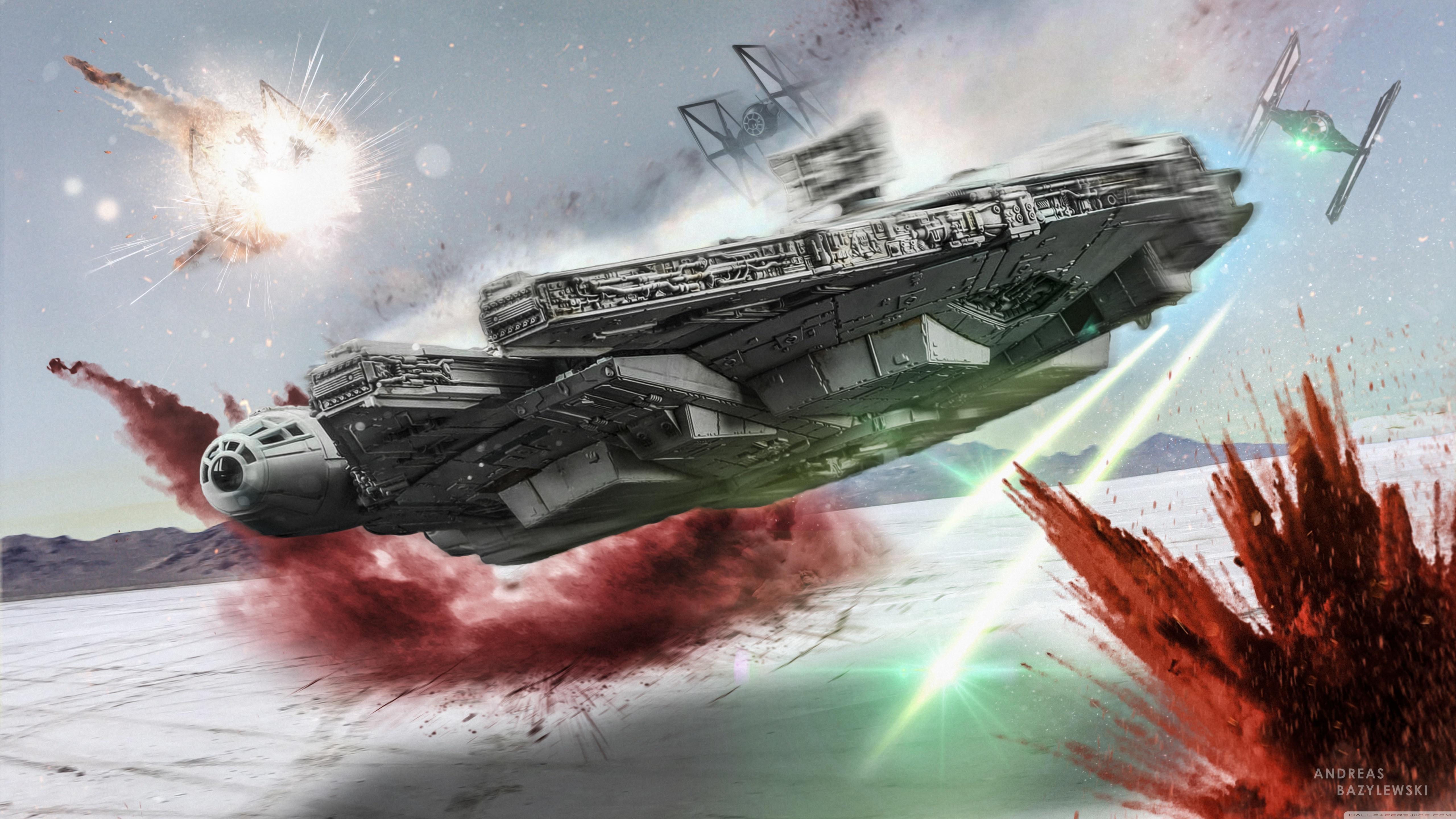 Millennium Falcon Last Jedi 5120x2880 Wallpaper Teahub Io