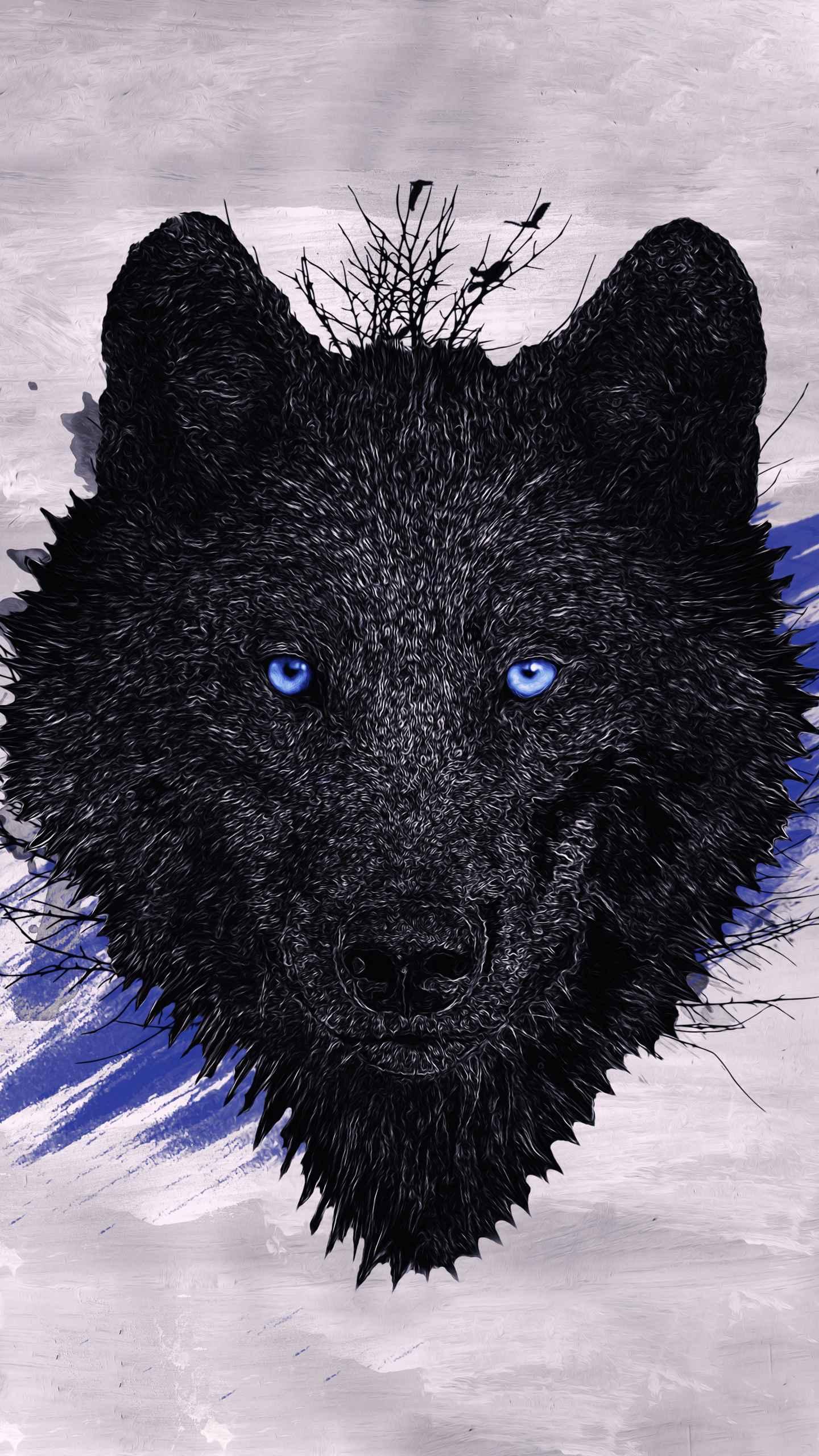 Iphone 6 Black Wolf Wallpaper Black Wolf Paint Iphone Wallpaper 1440x2560 Wallpaper Teahub Io