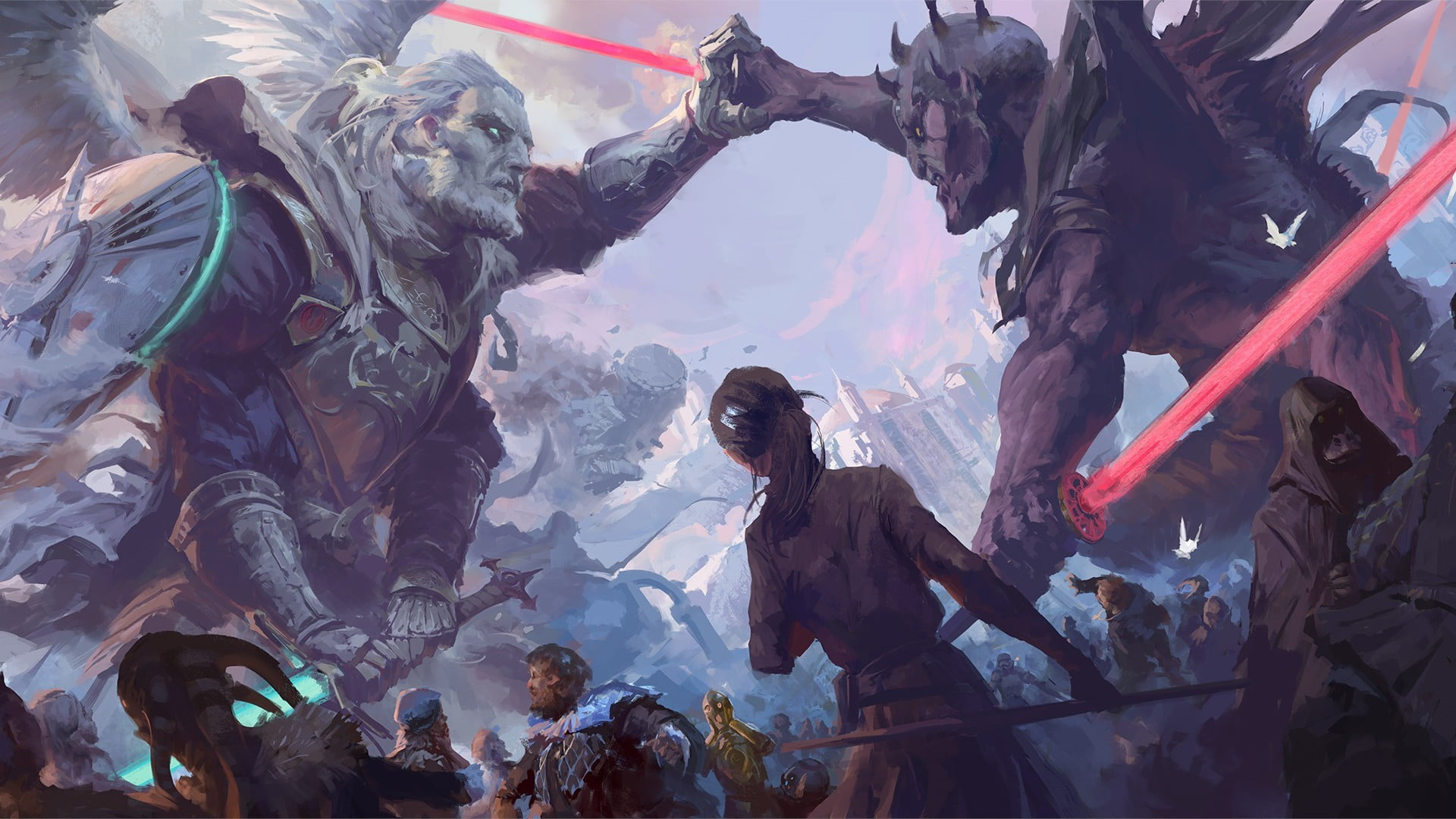 Jedi Vs Sith Art 1920x1080 Wallpaper Teahub Io