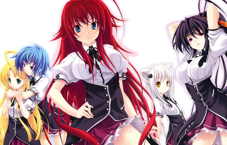 Photo Wallpaper Look, Smile, Anime, Tail, School Uniform, - High School Dxd S4 - HD Wallpaper