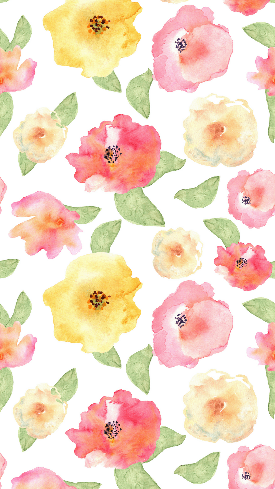 Watercolor Floral Phone Background ...