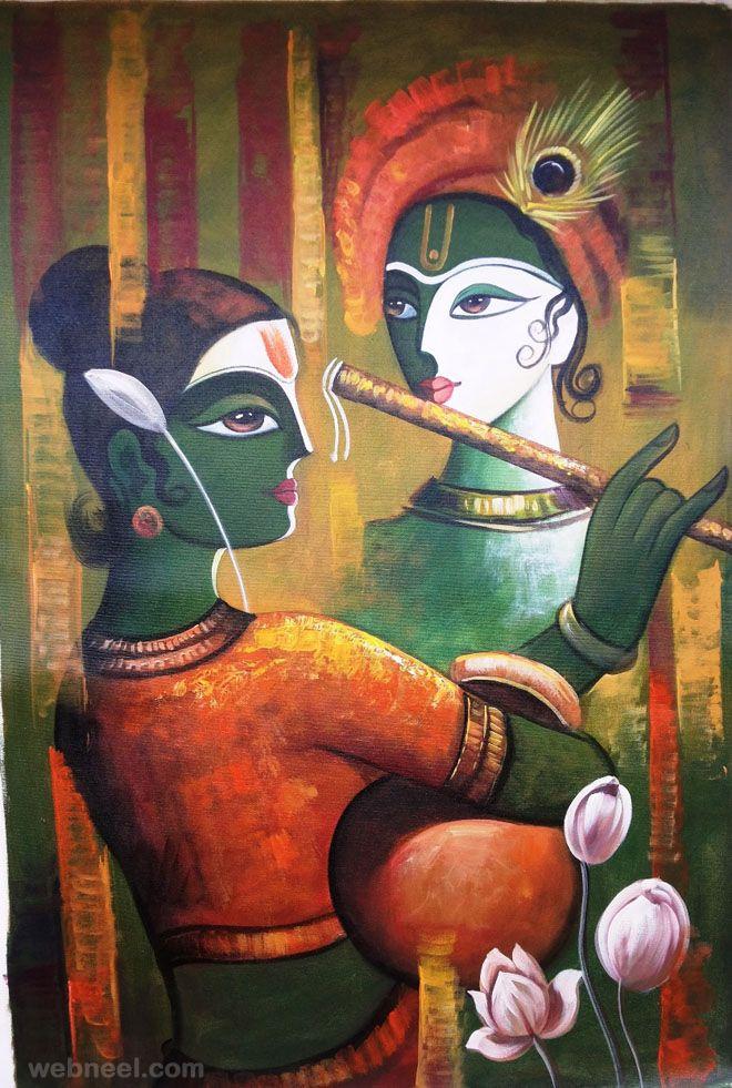 Radha Krishna Modern Art Painting - HD Wallpaper