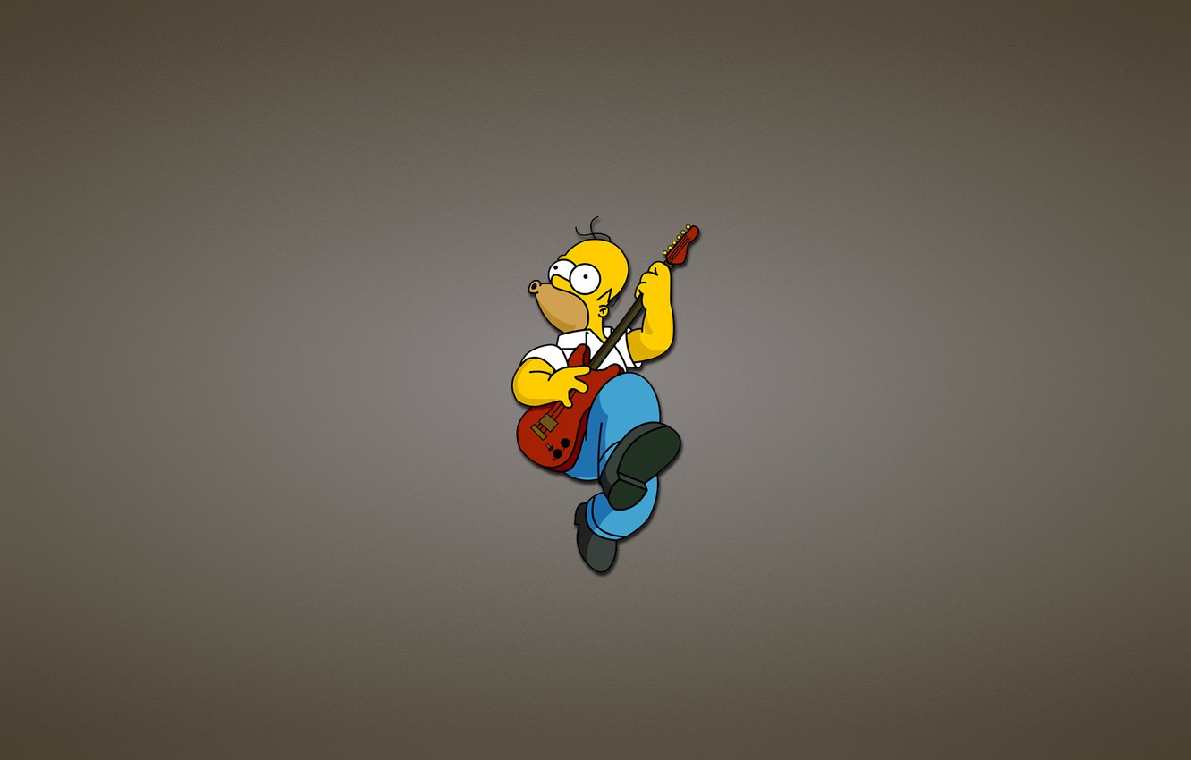 Photo Wallpaper Guitar, The Simpsons, Homer, Red, The - Simpson Rock - HD Wallpaper